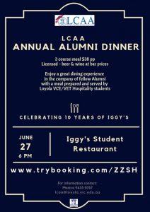 LCAA Alumni Dinner,  Thursday 27 June 2019